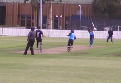 Dominant batsman launches bowler back over his head