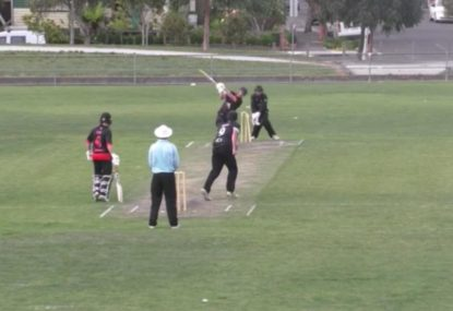 Batsman bowled neck and crop by low shooter