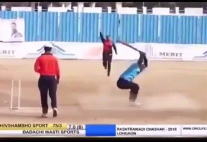Batsman chucks a tantrum after being dismissed by a mankad