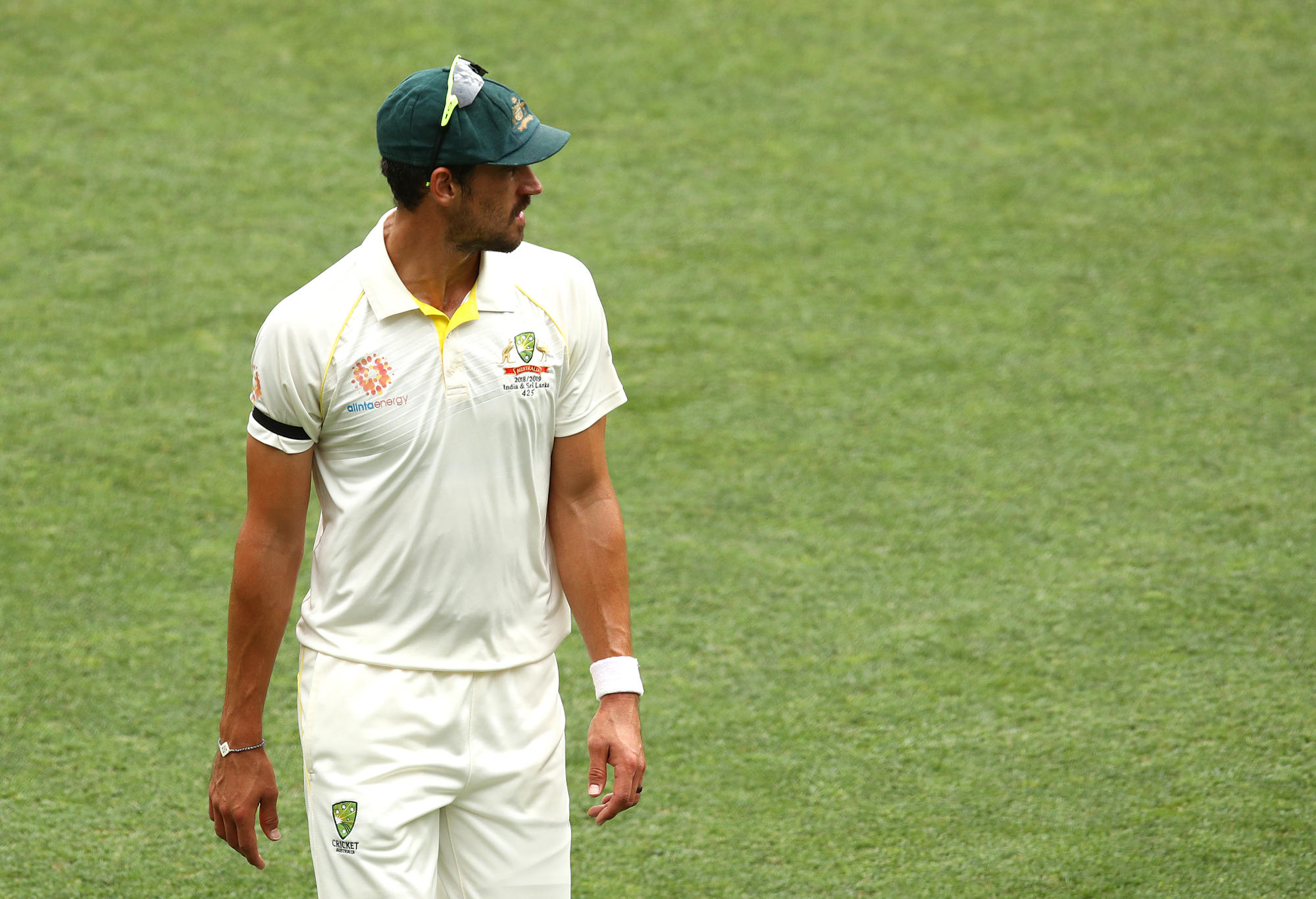 Mitchell Starc of Australia looks on