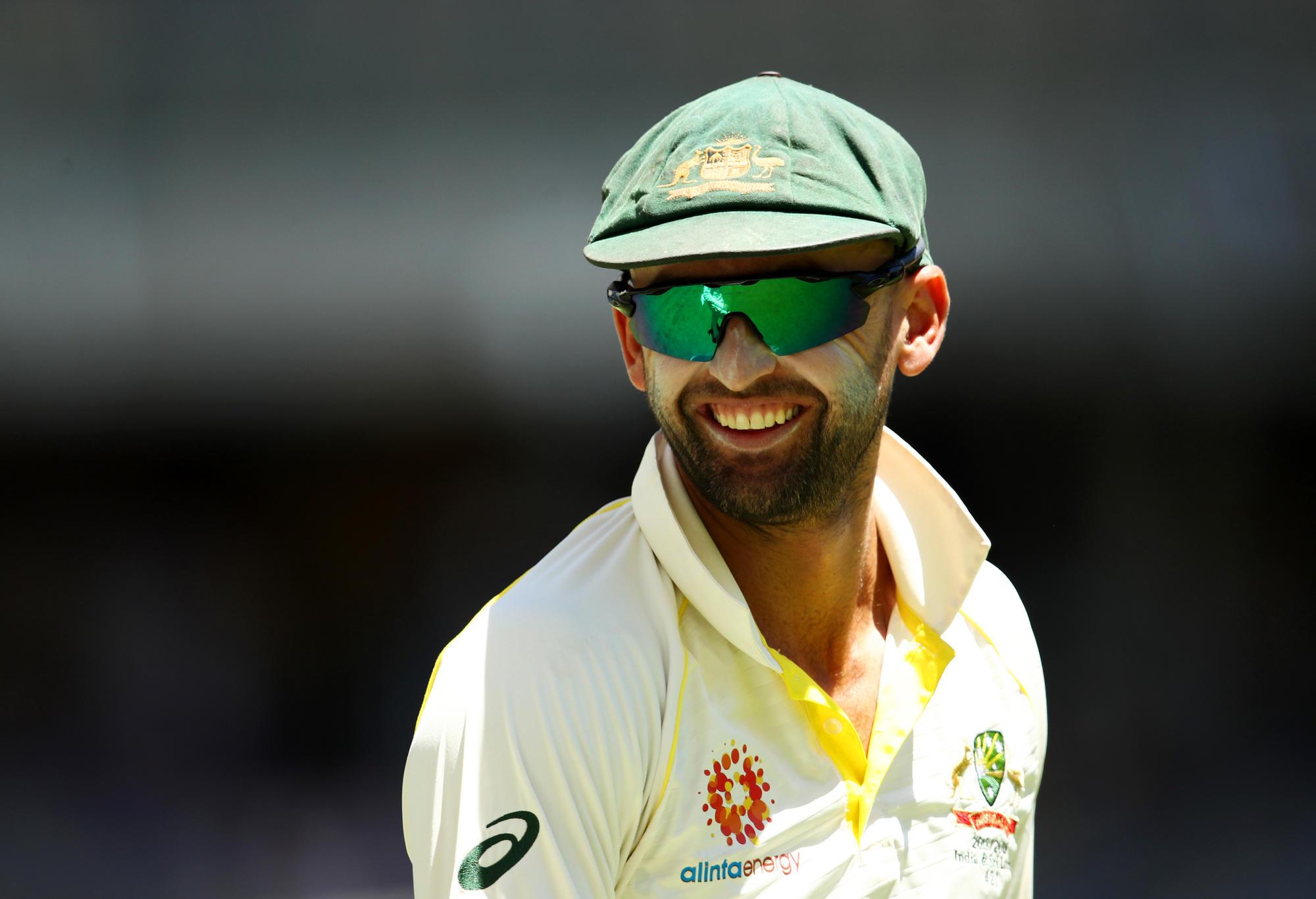 Nathan Lyon of Australia smiles