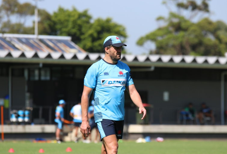 Adam Ashley-Cooper (centre) of the NSW Waratahs is seen training with Super Rugby teammates.