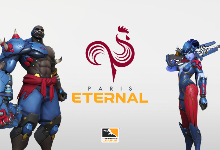 Doomfist and Widowmaker in Paris Eternal colours.