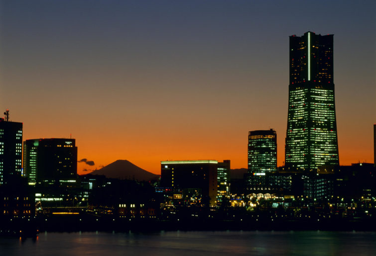 A general view of evening glow of Yokohama Minato Mirai 21 district and Mt. Fuji
