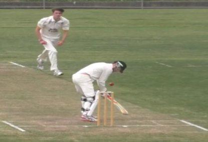Batsman's insane reflexes prevents certain dismissal