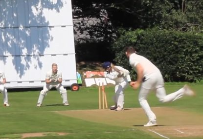 Peach of an in-swinger obliterates leg stump