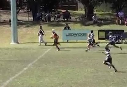 12-year-old beast beats half the opposition for long range try