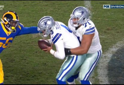 Ref bizarrely calls play dead after Dallas QB 'grasped' by teammate
