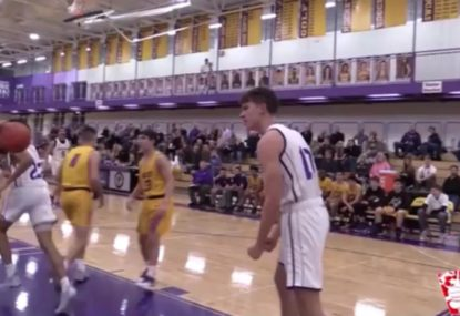 Highschooler jams huge dunk AND makes clutch block in one play