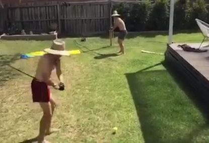Backyard cricket... with a golf club, goes as well as you'd expect