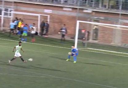 Audacious striker sinks a NO-LOOK goal