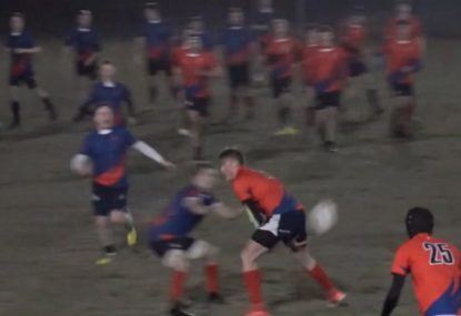 Rugby player hilariously throws a wrap around ball through the LEGS!