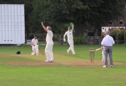 Old timer snags a wicket with the biggest pie you'll see