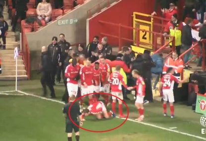 Arsenal loanee cops accidental kick to the privates from fan in celebration gone wrong