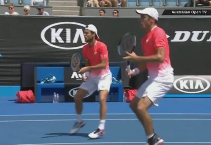 Doubles pair suffer embarrassing howler while calling for the ball