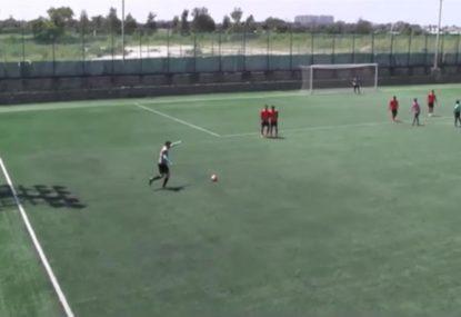 Amateur footballer sinks sensational 35-yard free kick