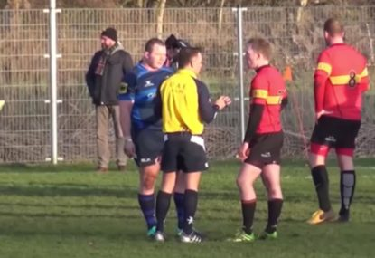 Ref tucks into both captains after late hit on kicker