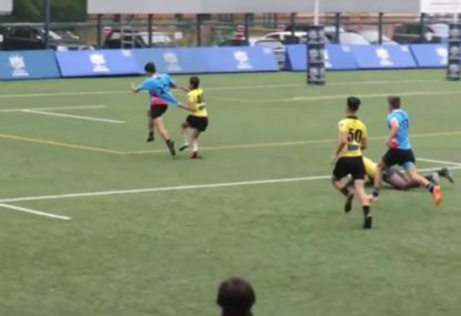 Defender's gut-busting try-saver counts for squat two seconds later