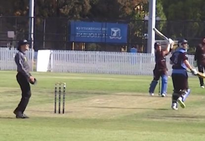 Batsman pulls the driver out of his golf bag and tees off for six