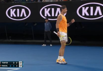 Rafa pulls off ridiculous around the net winner