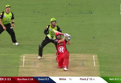 Aaron Finch launches one into orbit at Spotless Stadium