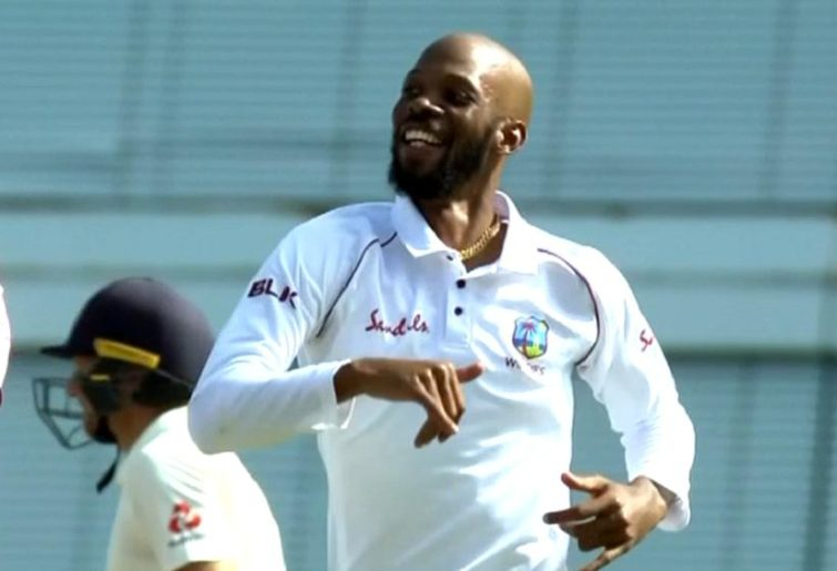 Off-spinning Windies all-rounder rips through England with 8/60 in 381-run win
