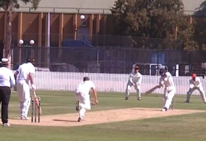 Batsman playing across the line embarrassed by bad bounce