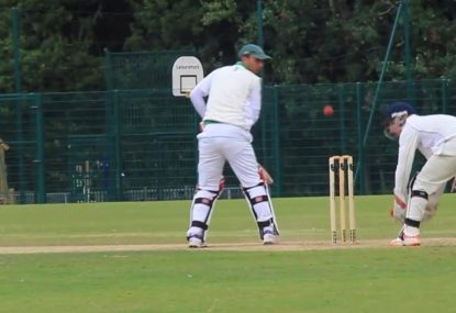 Lucky batsman's chop-on somehow jumps the stumps