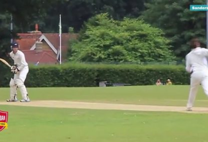 Batsman searches for excuse after watching himself get bowled