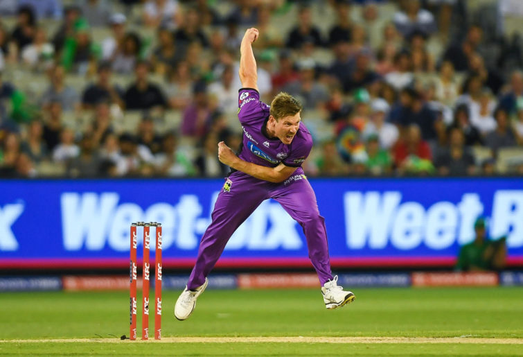 James Faulkner bowls for the Hurricanes