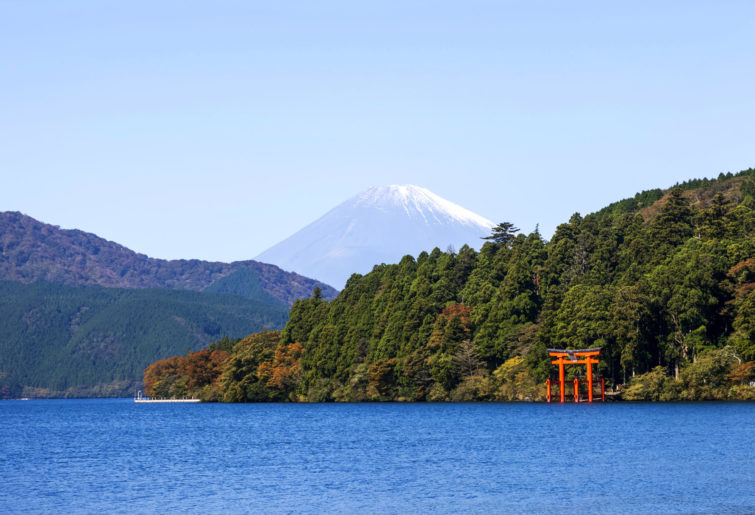 The view of Mt Fuji from Lake Ashi