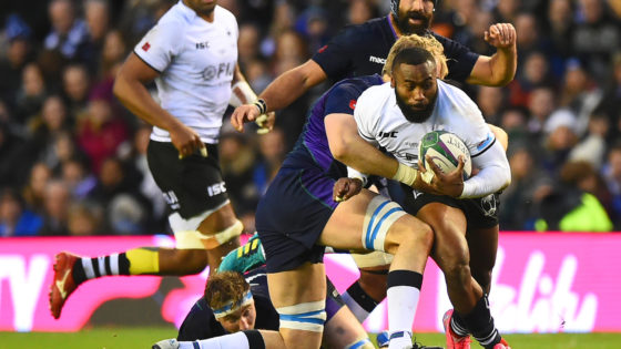 Fiji's centre Semi Radradra is tackled