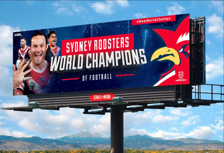 The NRL's Sydney Roosters billboard in the USA