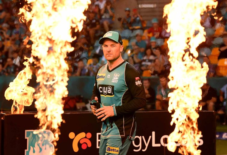 Brendon McCullum. On fire. And flames
