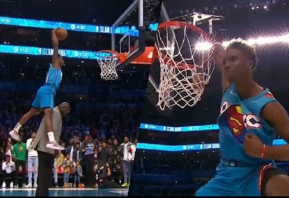 20-year-old wins NBA dunk contest after this bonkers effort over Shaq