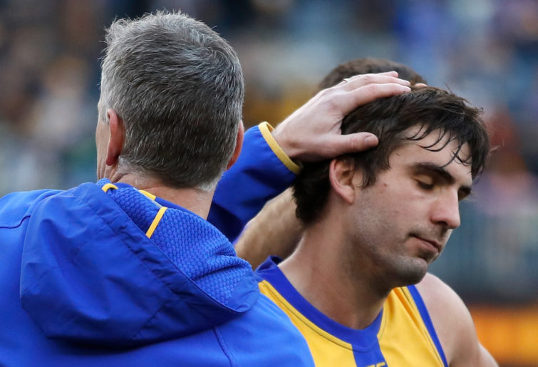 West Coast Eagles midfielder Andrew Gaff and coach Adam Simpson