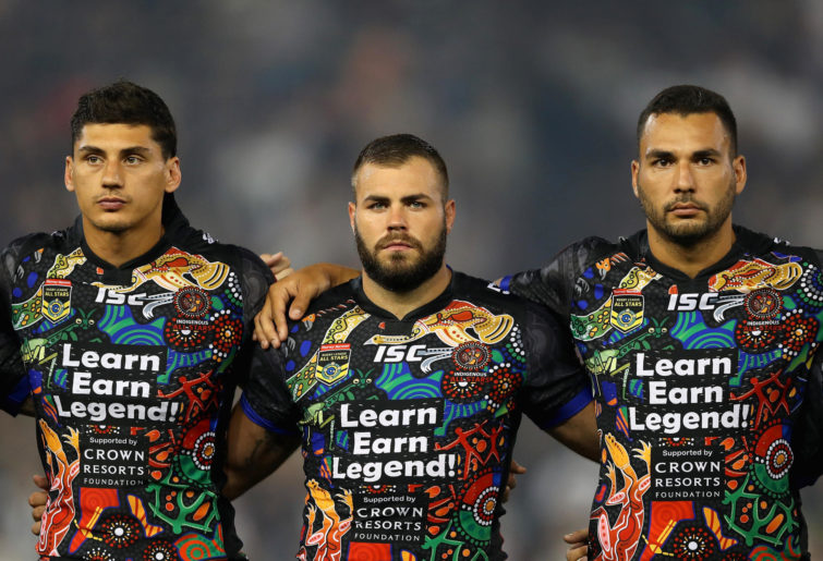 Kyle Turner, Wade Graham and Ryan James of Indigenous All Stars.