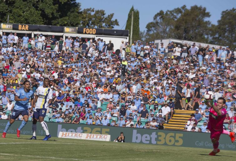 A-League action at Leichhardt Oval