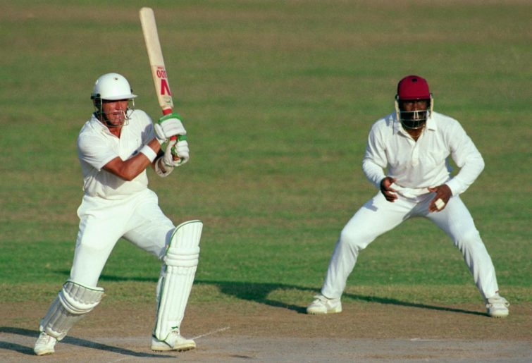 Alec Stewart of England hits out against the West Indies