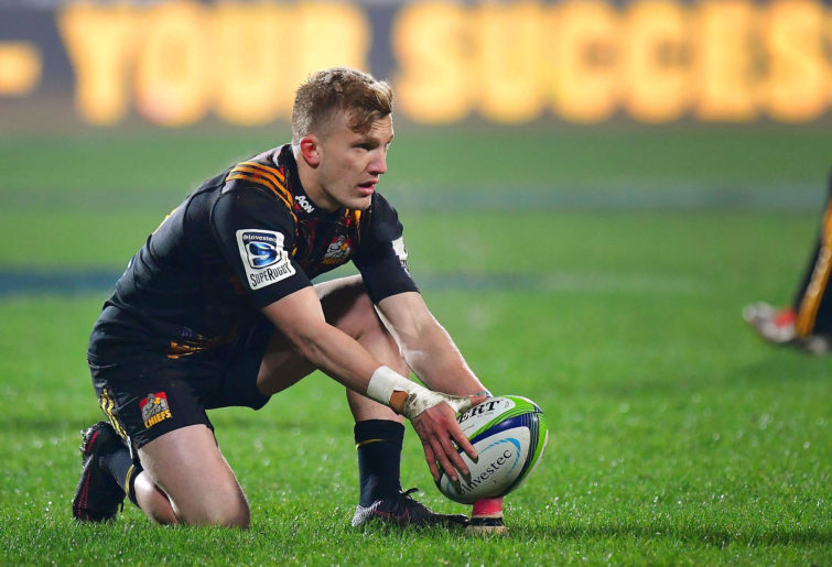 Damian McKenzie lines up for a shot at goal