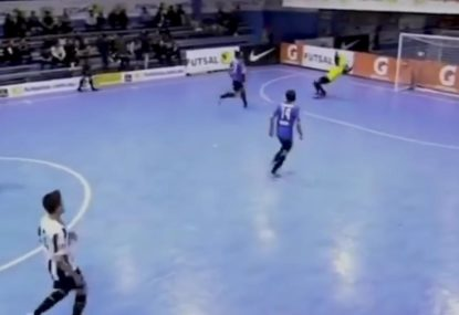 Goalie claims the assist for electric bicycle-lick goal
