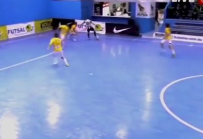 Futsal freak launches rocket from an impossible angle