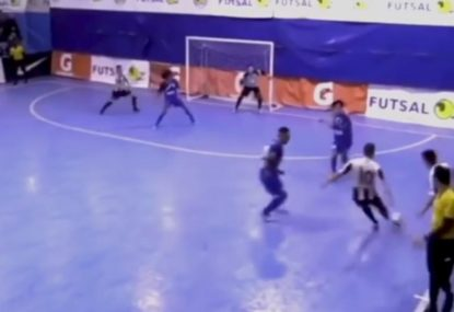 Ballistic missile strike almost splits goalie in half