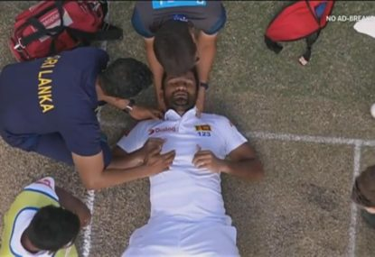 Karunaratne given all clear by hospital, could bat on Day 3