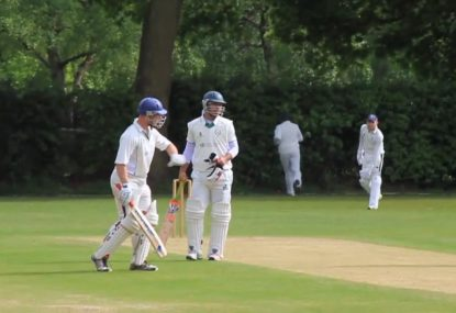 Batsman cheekily takes over the umpiring to gee up fast bowler