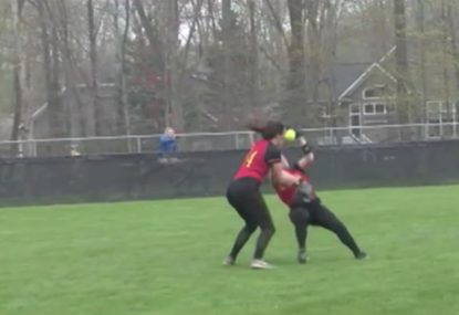 Teammates ABSOLUTELY POLEAXE each other while going for a catch