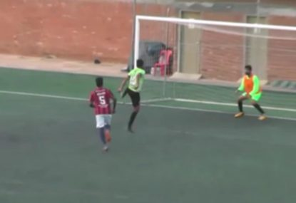 Local striker executes picture-perfect volley goal