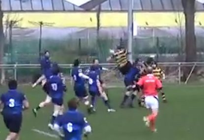 Careless defender cuts the legs from under high-flying opponent