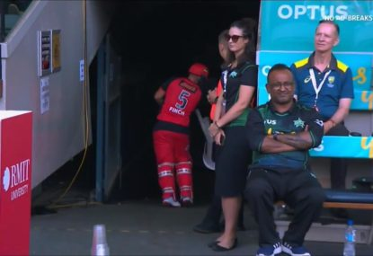 Innocent chair cops Aaron Finch's wrath after brutally unlucky run out