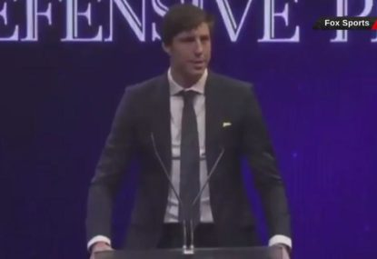 Andrew Bogut's teammate accepts award on his behalf with awkward speech